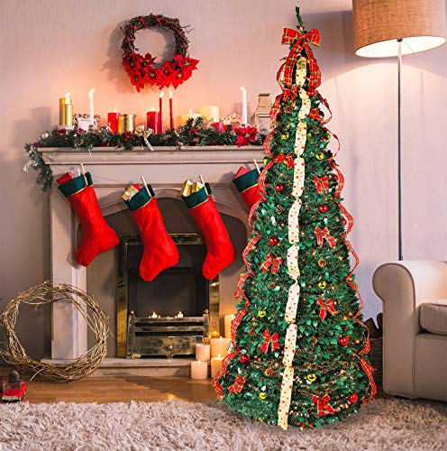 Fully Decorated Pop Up Christmas Tree | Pre lit Instant Pull Up Christmas Tree with Storage Bag (9ft)