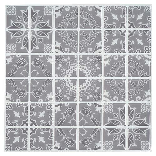 Ecoart 6 Piezas Decorativos Adhesivos para Azulejos Pegatina de Pared, Azulejos de Gel, Diseño de Azulejo Vintage, Efecto 3D, Cenefa Autoadhesivo, para Baño y Cocina(Blanco y Gris)