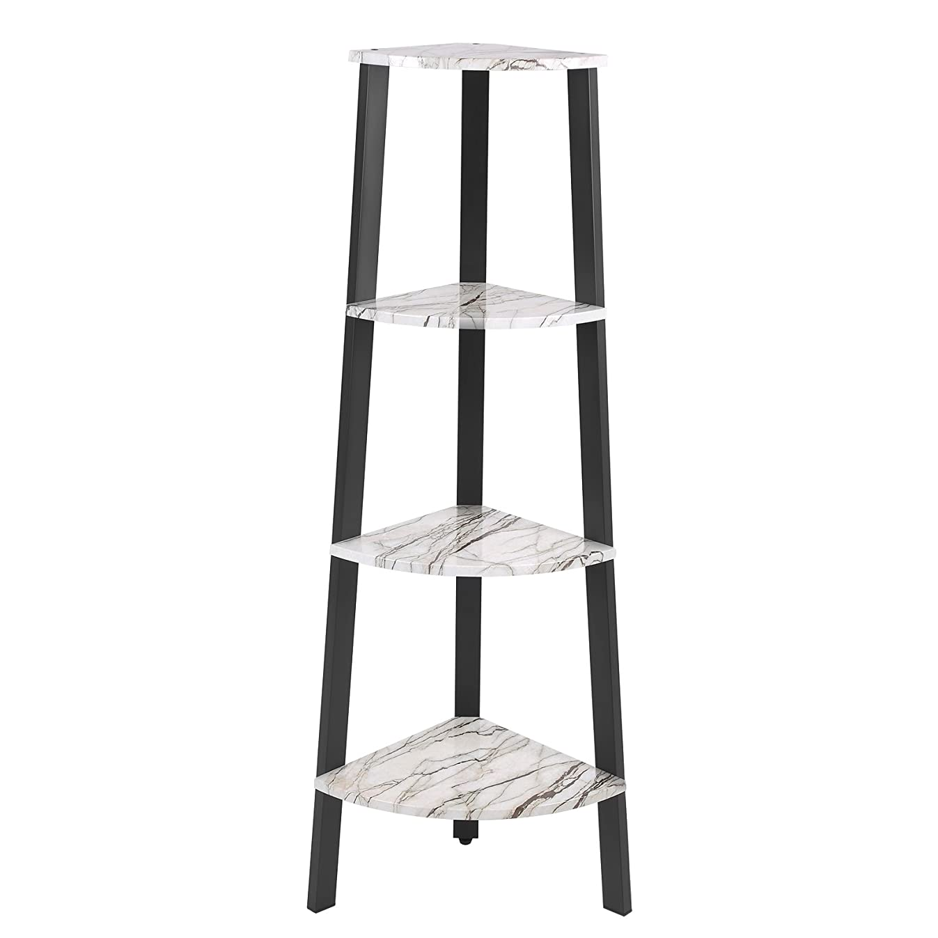 VASAGLE Corner Shelf, 4-Tier Display Shelf Bookshelf, Plant Stand for Home and Office, Faux Marble with Metal Frame ULLS34BW