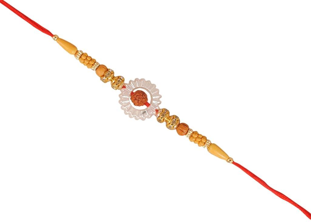 Designer RAKHEE with RUDRAKSHA & SUKHAD Beads for Bhaiya Brother/Sisters,Traditional Rakhi,Thread,Bracelet for Rakshabandhan Festival (1)