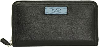 Black Leather Long Wallet 1ML506 Nero Zip Around