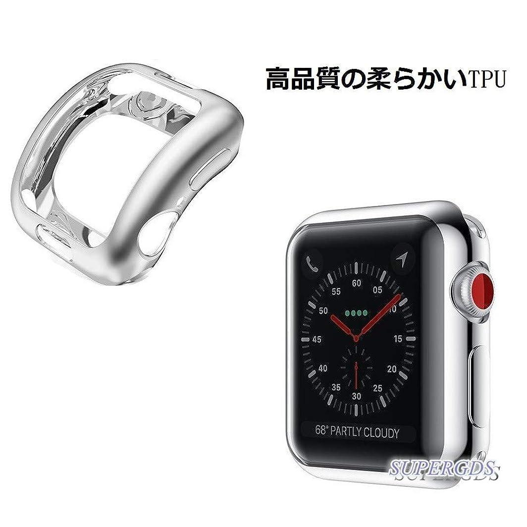 船ゴールデン経度コンパチブル Apple Watch Series 3-38mm ケース アップルウォッチ3 カバー 38mm メッキ TPU ケース 耐衝撃性 超簿 脱着簡単 アップルウォッチ 柔らかい TPU ウオッチ保護ケース Apple Watch 3に対応 (38mm/シルバー)