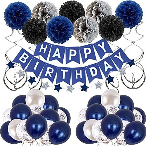 Decoraciones de cumpleaños azul, marina azul marino Pom Pom Pom Pom Poms Feliz Cumpleaños Banner Círculo Puntos Guirnalda Latex Globos Decoraciones de cumpleaños para niños Chicas Hombres Mujeres