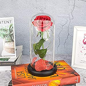 gifts for mom grandma women from daughter son,enchanted red silk rose with led light for mother's day valentine's day for her women birthday silk flower arrangements