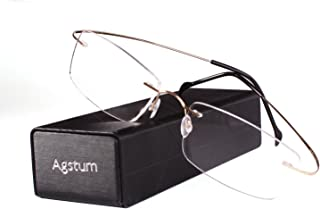 Agstum Pure Titanium Rimless Frame Prescription Hingeless...