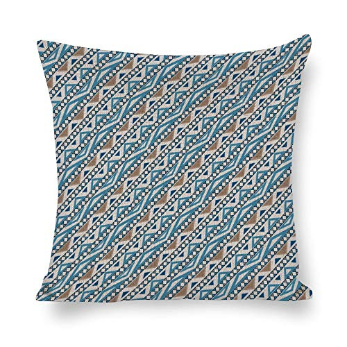 Juego de cojines sin marca de 18 x 18 cm, diseño de geometría azul para granja, oficina, dormitorio, sala de estar, sala de juegos, sala de estudio, comedor, cocina