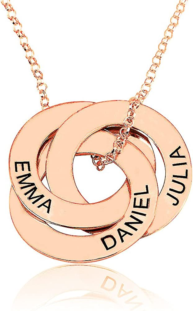 Personalized Gift, 925 Sterling Silver Chain Personalized Gold Plate Chain with Engraving Pendant Name Chain Silver Ros\u00e9