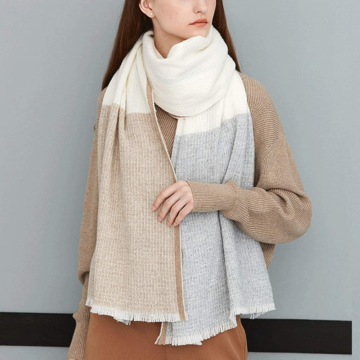 CHX Warm Scarf Woman Mixed colors Thicken Soft Shawl Large Size 200cm×65cm V (color   C)