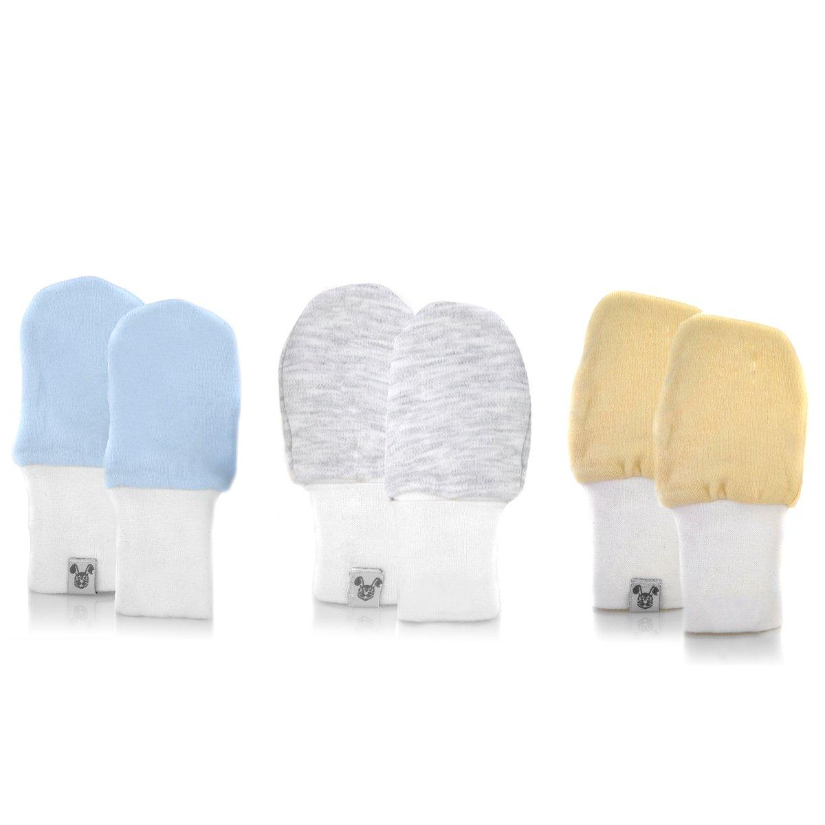 Crummy Bunny Newborn Baby Mittens - Blue, Grey and White, No Scratch Mittens, 3 Pairs