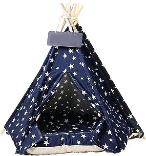 AoFeiKeDM Tält husdjur tipi katt- och hundsäng med kudde kanvas bärbart tält för små och medelstora katter hundar kaniner