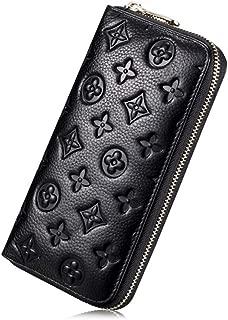 Women RFID Blocking Leather Wallet Zip Around Clutch Large Travel Purse