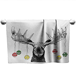 Bensonsve Bath Towel Moose,Christmas Moose with Xmas Ornaments Balls Hanging from Horns Funny Noel Sketch Art,Multicolor,Towel for Hair