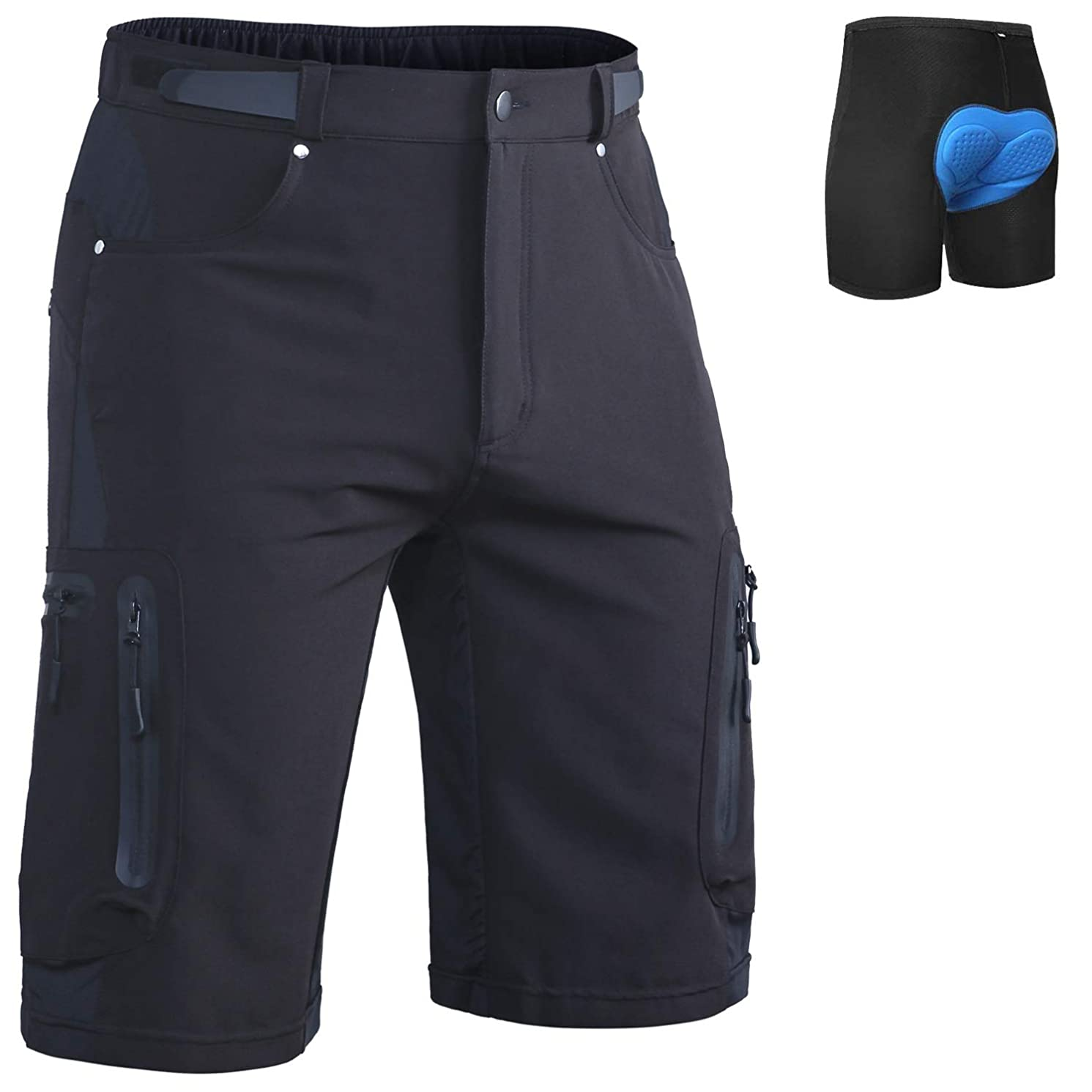 Ally Men's Cycling Shorts Loose-Fit 4D Padded Bike Bicycle MTB Mountain Bike Shorts, 7 Pockets, Removable Liner