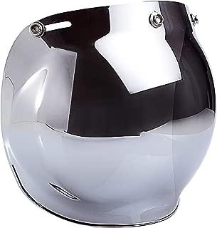 Smoke Tint Bubble Shield for 3-Snap Motorcycle Helmet (Chrome Mirror)