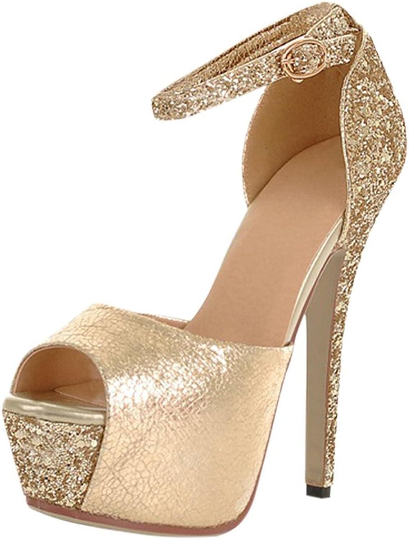 Agodor Womens Platform Stiletto Peep Toe Ankle Strap Pumps Glitter Party Sandals Evening High Heels shoes