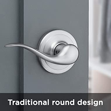 Tustin Hall/Closet Lever with Microban Antimicrobial Protection in Satin Nickel