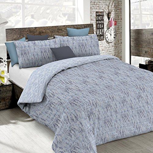 Italian Bed Linen CP-Em BLU-2P Copripiumino Emotion in Cotone con Sacco e federe Stampate, Graffiti Blu, 2 Posti