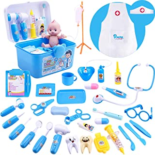 iPlay, iLearn 34pcs Deluxe Kids Pretend Play Doctor n Dentist Toy Set, Medical Kit w/ Doll, Electronic Stethoscope, Roleplay Costume, Birthday Gift for 3, 4, 5, 6 Year Olds, Toddler, Boy, Girl (Blue)