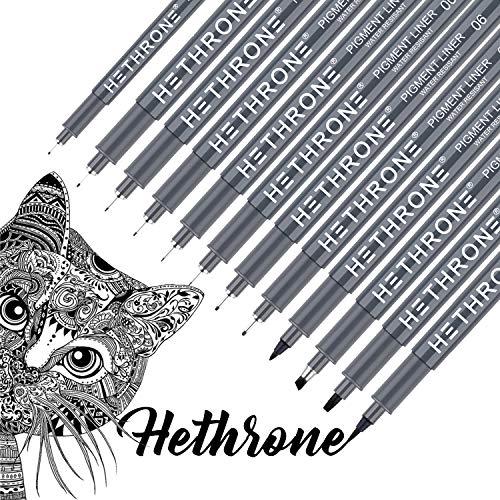 Hethrone Hand Schriftzüge - Schwarze Kalligraphie Stifte Fineliner Stifte Illustration Stifte Set für Anfänger Schreiben, Skizzieren, Illustrieren, Bullet Journaling (12 Größe)