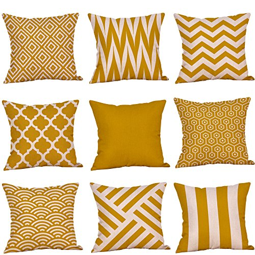 Kangrunmys Lot De 9 Taies d'oreiller 45X45Cm Geometrique Imprimé Housse De Coussin Coton Lin Home DéCor Vintage Decoration pour Salon Canapé Cushion Cover DéCoration De Maison