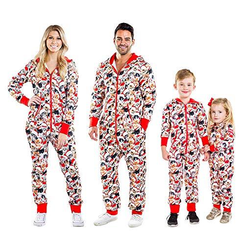 Hzhaodasi Familie Weihnachten Schlafanzug Strampler Onesie Katze gedruckt Overall Jumpsuit mit Kapuze Kinder Erwachsene Weihnachten Familie Kleidung