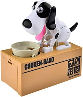 Cute Animal Mechanical Coin Bank For Kids - A Fun, Creative Alternative To Piggy Banks - Realistic Movements and Adorable Designs - Perfect Birthday Presents or Creative Gifts (Dog, Black White)