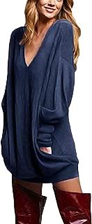 Women's V Neck Long Sleeve Loose Baggy Jumper Tunic Tops Mini Dress Pullover