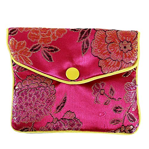 DHTOMC Chinese Traditional Brocade Pouch Silk Embroidery Pouch Bag for Jewelry, Wedding Gift Package Xping (Color : Rose Red Large)