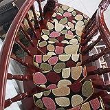 Selbstklebender Halbrunder Treppenteppich Mit 3cm Kantenlänge, Braune Polypropylen Stufenmatten Treppenmatten, 12mm Dicker Rutschfester Treppenteppich,15pc-65x24cm