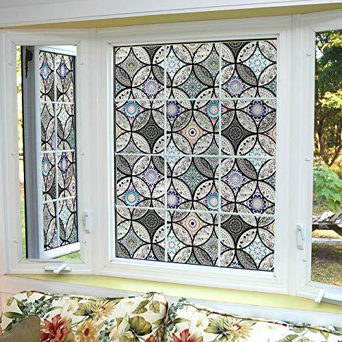Dktie Dekorfolie Glasmalerei Fensterfolie Sichtschuzfolie Milchglasfolie Kreise Statisch Haftend Privatsphäre Fensteraufkleber (Schwarz, 44.5 x 200 cm)