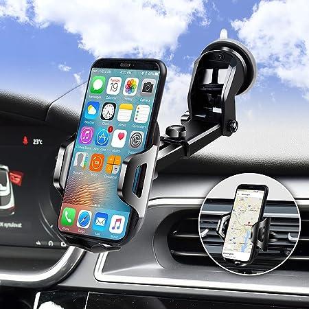 3 en1 Support Telephone Voiture, Porte Téléphone Voiture Grille aération Pare Brise Tableau de Bord par Ventouse Compatible avec Smartphone iPhone Pro Max Samsung S9 S10 Huaiwei (Gris)