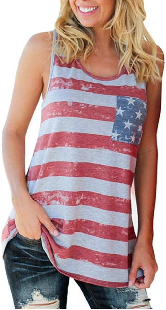 PAIXUN Womens Flag Star Patriotic Tees American Shirts Plus Size Novelty Camis Letter Casual Summer Tank Top Tunic