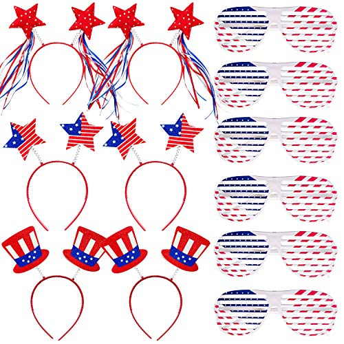 Adurself 12 PCS Fourth/4th of July Headbands and Eyeglasses Set, 6 American Flag Design Shutter Glasses Shades Sunglasses Eyewear, 6 Patriotic Headband Head Boppers for Patriotic Party Favor Supplies, Costume Favors