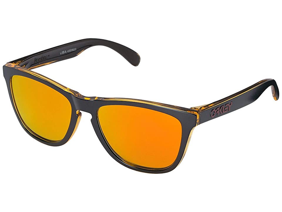 Oakley Frogskins (Matte Black Trans Yellow w/ Fire Iridium) Sport Sunglasses