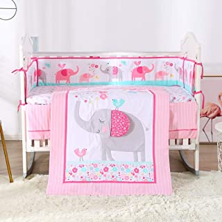 Wowelife Pink Elephant Baby Girl Nursery Crib Bedding Set 7 Piece Elephant Birds and Flowers for Girls with Bumpers(Pink Elephant-7 Piece)
