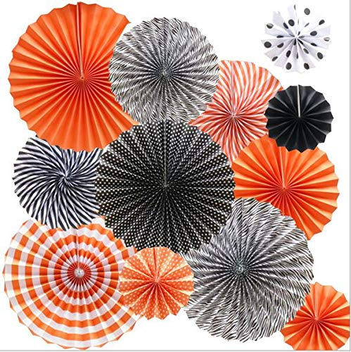 RayLineDo 12 Pcs Multi-Color Paper Hanging Party Fans Tissue Paper Garlands for Festival Party Wedding Home Birthday Décor-Black and Orange