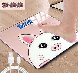 sufengshop Balanzas electrónicas para el hogar báscula para adultos pérdida de peso saludable pesaje báscula para el cuerpo humano báscula de dibujos animados báscula para pesas cerdo rosado
