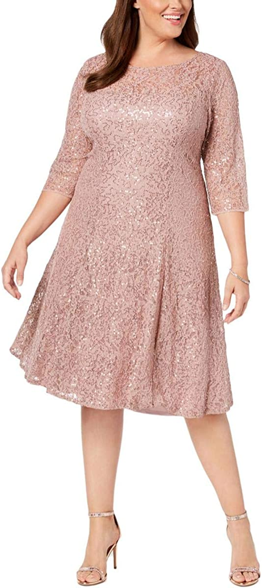 SLNY Max 56% OFF Women's Plus Size Lace Free shipping Dress Sequined A-Line
