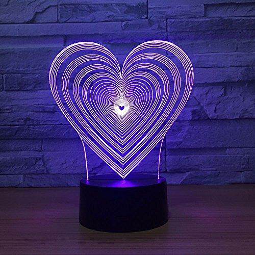 Unico regalo della moglie della mamma a forma di cuore LED 3D luce notturna visiva 7 cambia colore lampada da camera da letto per bambini ha condotto la luce notturna decorazione acrilica