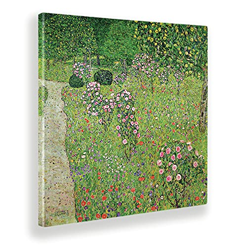 Giallobus - Cuadro - Gustav Klimt - Huerto con Rosas - Lienzo - 50x50 - Listo para Colgar - Cuadros Modernos para el hogar