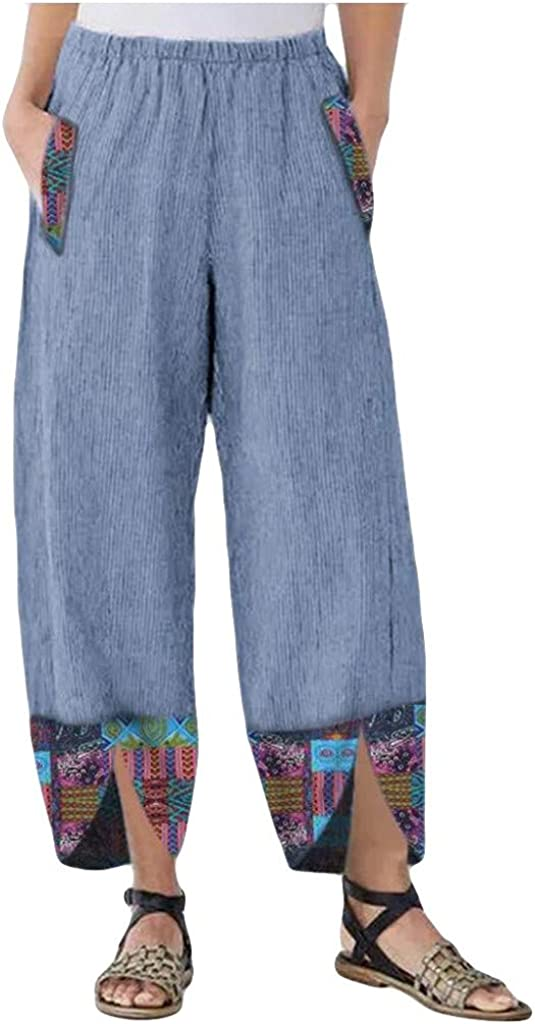 Women Linen Wide Leg Capri Pants Casual Loose Baggy Tapered Elastic Waist Cropped Pants Daisy Print Harem Pants Trousers