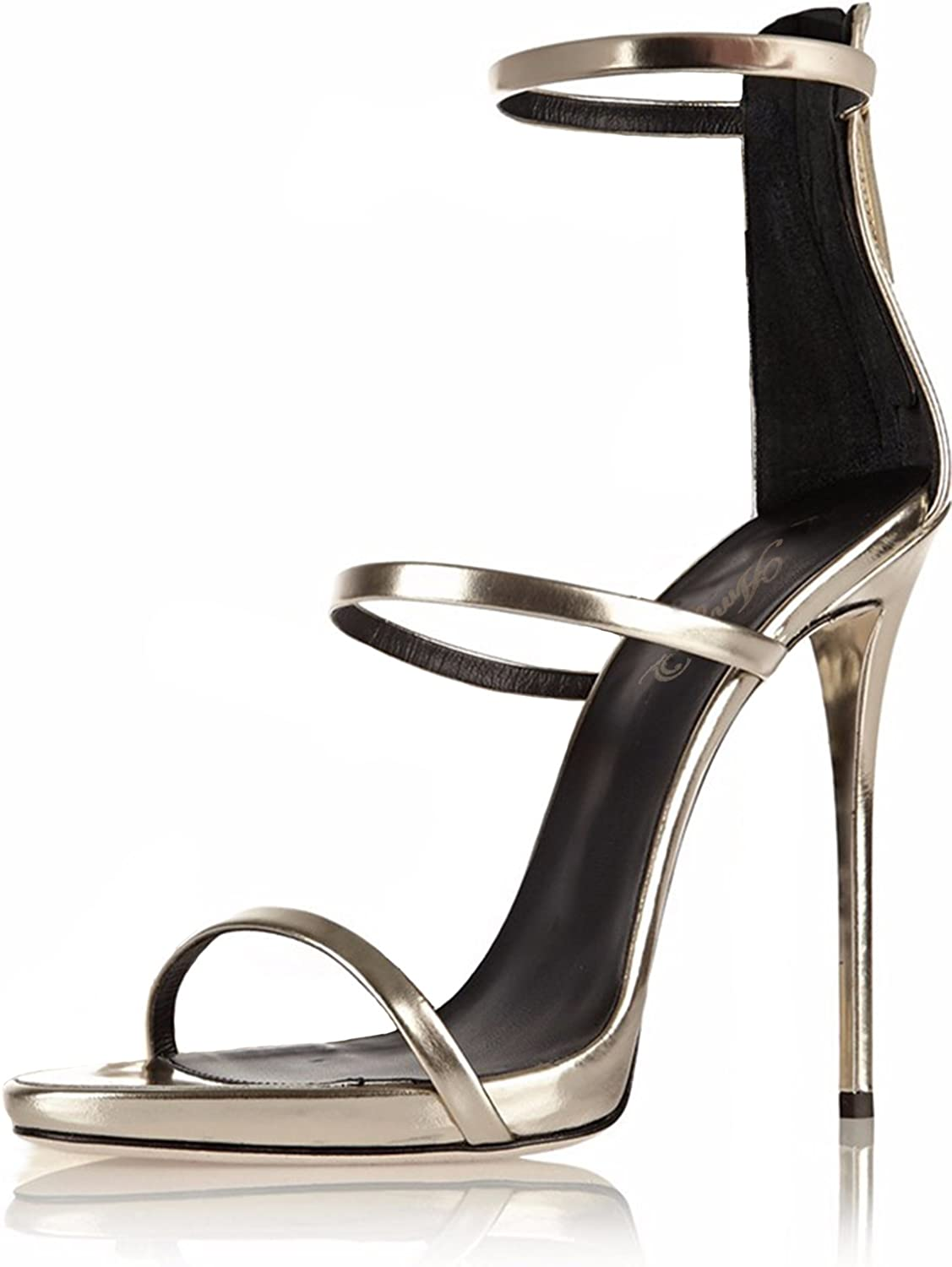 Amy Q Women Shiny Sliver Strappy Sandals with Three Straps Evening Dress High Heels Covered Heel shoes