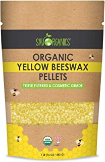 Yellow Beeswax Pellets Pure Beeswax No Toxic Pesticides or Chemicals - 3 x Filtered, Easy Melt Pastilles- for DIY, Candles, Skin Care, Lip Balm (1 lb)