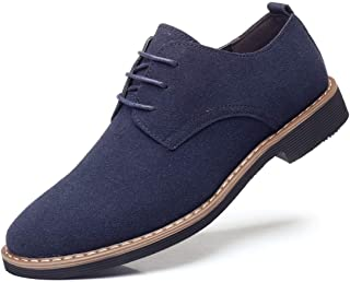 DADAWEN Men's Suede Dress Shoes Casual Lace Up Oxfords Shoes