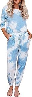 Choha Womens Tie Dye Pajama Sets Long Sleeve Tops and Pants Joggers Pj Sets Loungewear Sleepwear