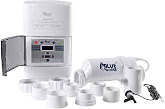 BLUE WORKS Salt Water Pool Chlorine Generator System BLSC Chlorinator| Free Flow Switch & Unions & Oring (15,000 Gallon, White Cell)