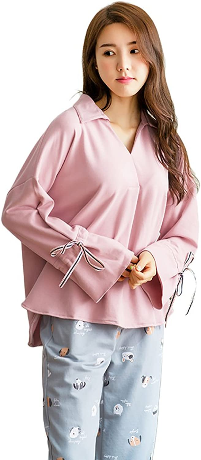 Fashion Ladies Long Sleeve V Collar Cotton Pajamas Casual Cute Home Clothing Set ( color   Purple , Size   M )