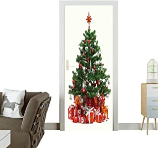 7b4c631929b07 Homesonne 3D Door Decals Christmas Tree with heap of red Gift Boxes  Decorated with Satin Ribbon