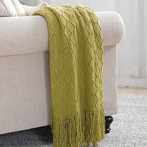 Best Bourina Textured Solid Soft Sofa Throw Couch Cover Knitted Decorative Blanket, 50