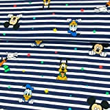 Baumwolljersey Lizenzstoff Disney Family Streifen blau